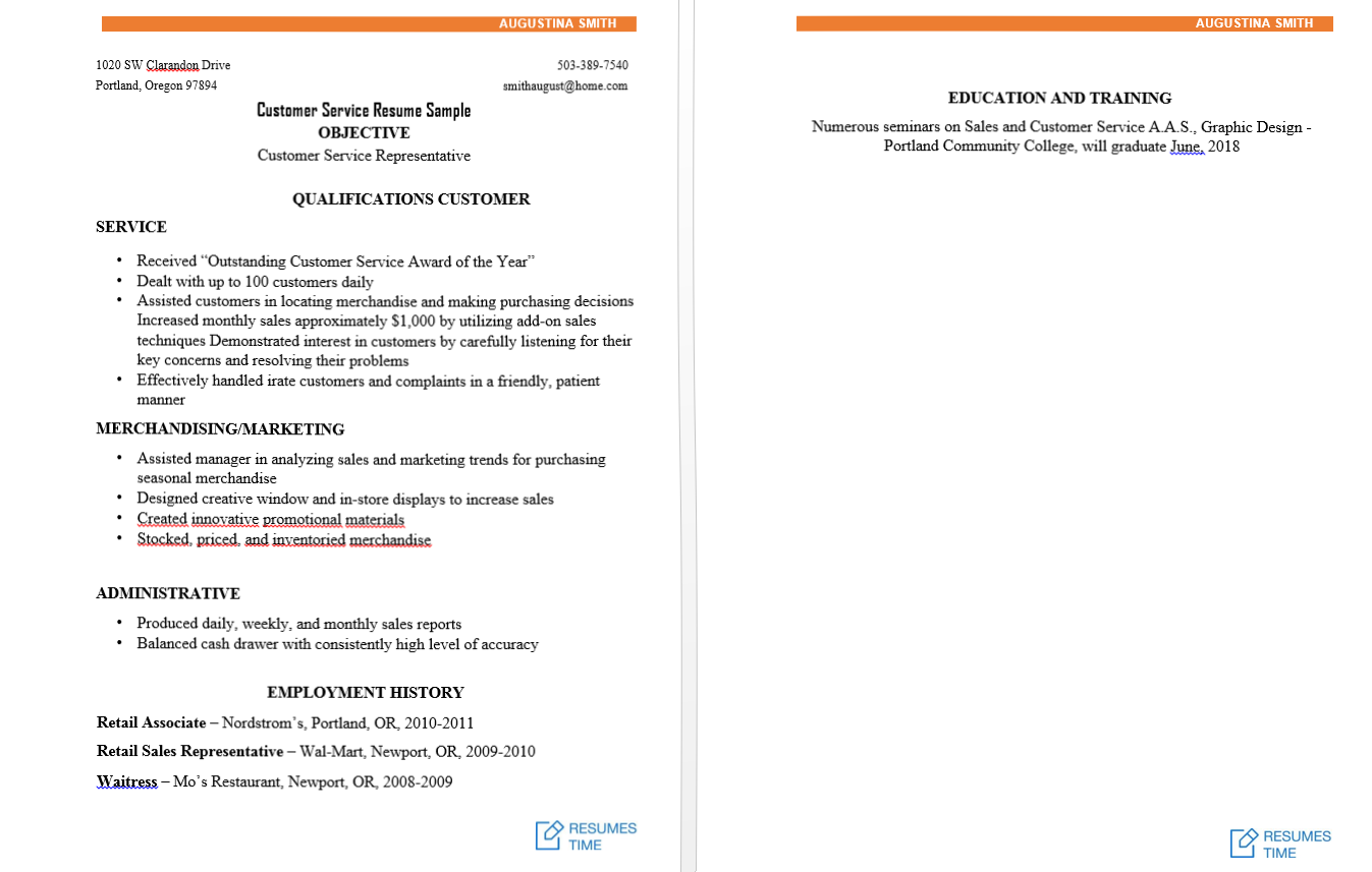 resume samples customer service resume resumestime com