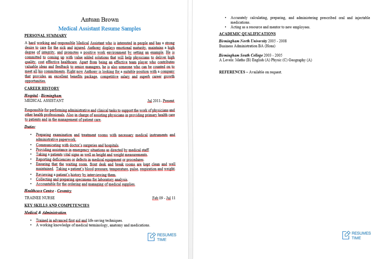 medical assistant resume samples