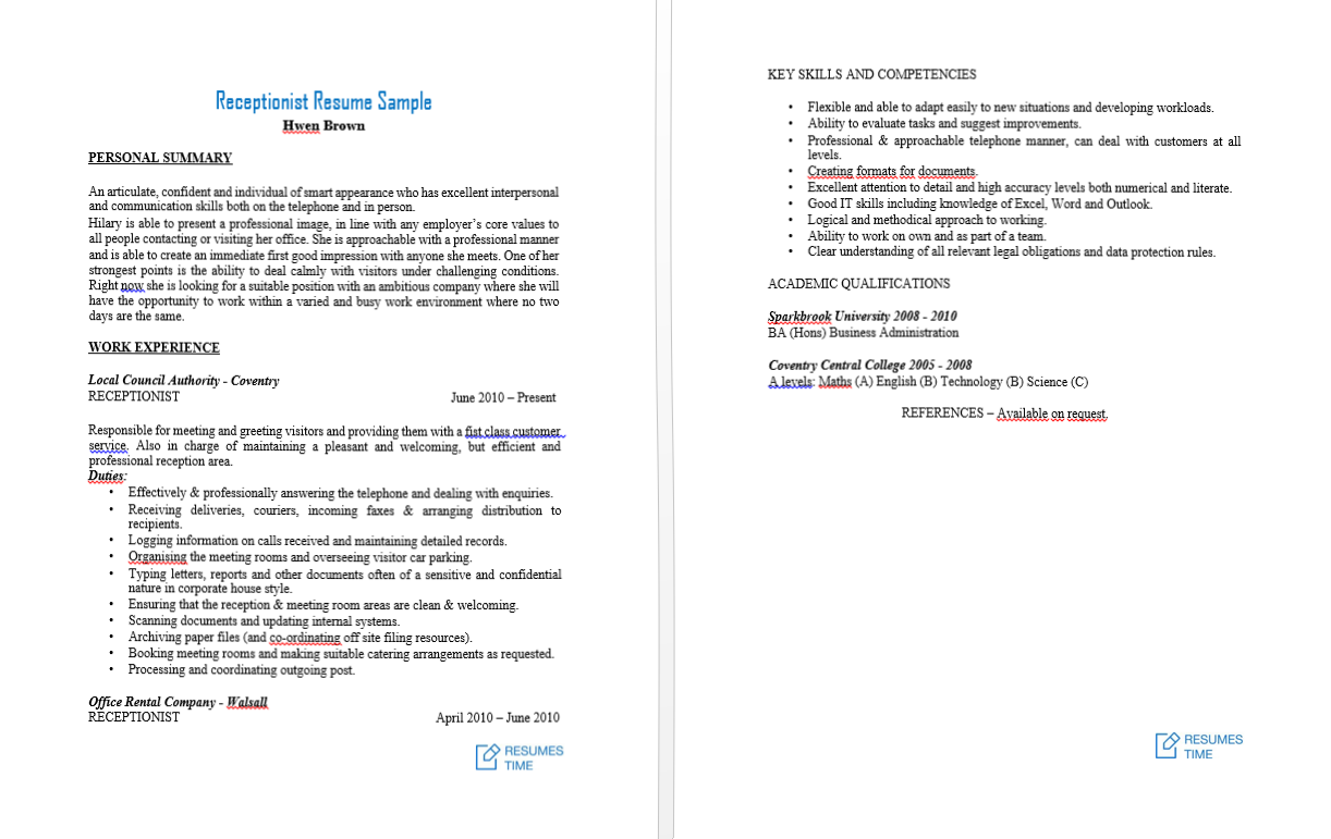receptionist resume examples that would get you some job special
