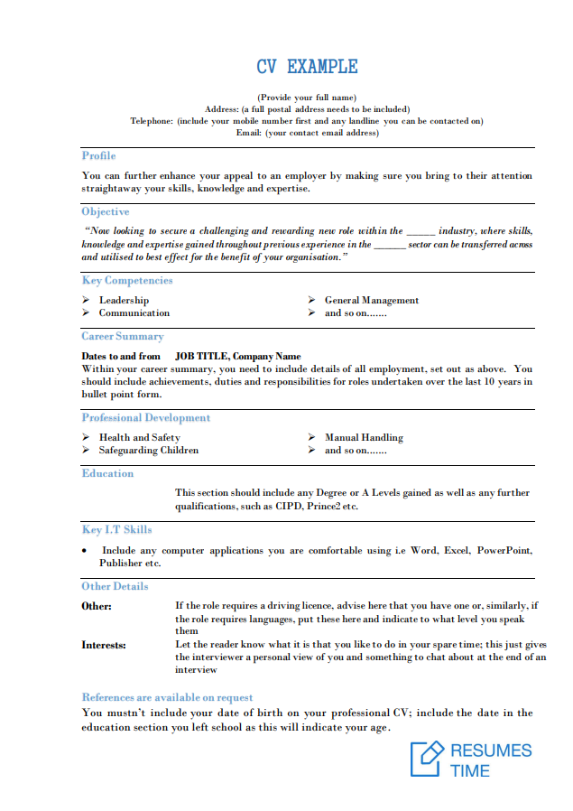 Cv Examples And Samples Tips To Make A Winning Cv Resumestime