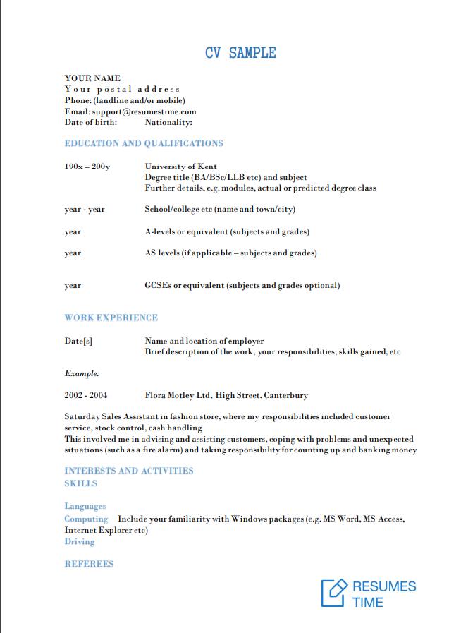 CV Examples and Samples: Tips to Make a Winning CV   ResumesTime