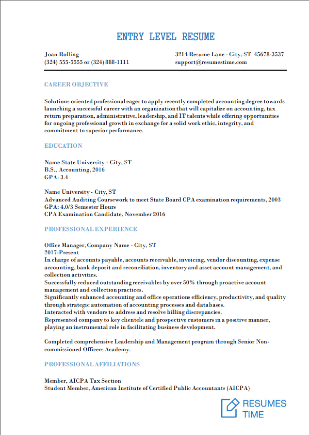 Entry Level Resume Samples, Examples, Template to Find the Best Job