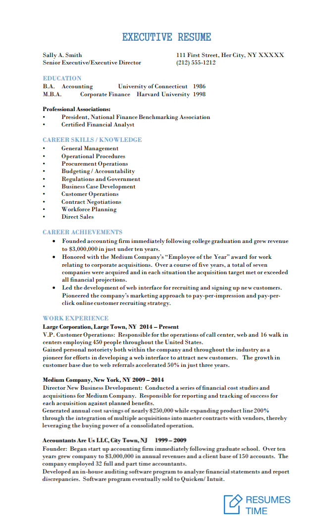 Executive Resume Samples and Examples to Help You Get a ...