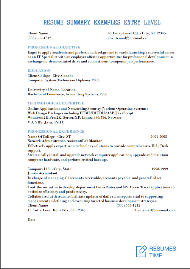 Entry Level Resume Samples, Examples, Template to Find the ...